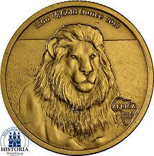 África serie: gabón 5000 francos 2013 African Lion león 1/8 oro ounce en estuche
