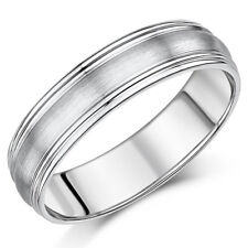 6mm Palladium Matt Center and Ridged Edges Wedding Ring