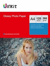 Uinkit 120 Sheets A4 260Gsm High Glossy Photo Paper Inkjet Paper Printer 210x297