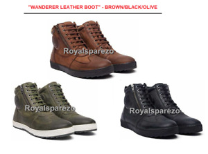 100% Genuine Royal Enfield WANDERER LEATHER BOOT - BROWN/OLIVE/BLACK