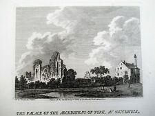 Original print, 1784, Archbishop's Palace at Southwell Nottinghamshire, unframed
