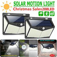 208LED Solar Power Motion Sensor Light Outdoor Garden Security Wall Lamp