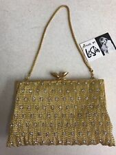 Vintage Le Soir Evening Bag Handbag Purse Rhinestones Unused in Box