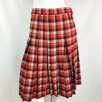 Vintage Woman's skirt small Handmade red black plaid wool pleated zip