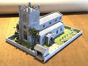 Metcalfe Assembled Parish Church (Card Kit) Set In Walled Surround - EXCELLENT