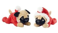 "BRAND NEW 12"" CHRISTMAS LAYING PUG IN SANTA OUTFIT SOFT PLUSH TOY"