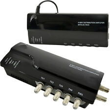 4 Way TV Aerial Distribution Amplifier–4G Amp Splitter Booster F-type Coaxial DC