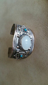 Artisan Crafted Tibet Silver Cuff Bracelet with Turquoise & Moonstone