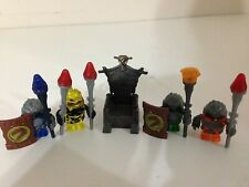 Mega Bloks Dragons Lot of 4 Krystal War Rock Monsters w/ Staffs Shields & Throne
