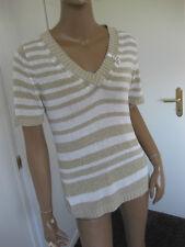 Bonita bildschöner Pullover Gr. M / 40 beige/weiß   kurzarm