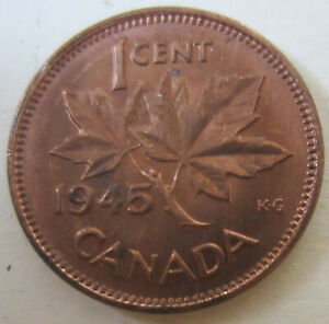 1945 Canada Small Cent Coin. UNC. RED UNC (C265)