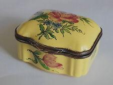 boite à bijoux faience Veuve Perrin Marseille , boite à priser décor floral