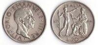 1928 Vittorio Emanuele III Lire 20 Littore Anno VI Argento Circolata Vedi Foto