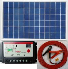 10w Solar Panel + 10A 12V 24V charger controller + 7m cable fuse & battery Clip