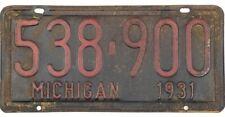 *99 Cent Sale* 1931 Michigan License Plate #538-900 No Reserve