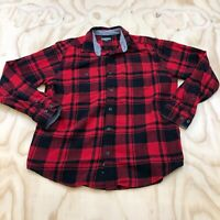EDDIE BAUER MEN SIZE LARGE PLAID FLANNEL COLLARED BUTTON UP LONG SLEEVE SHIRT