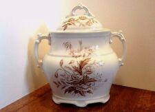 Royal Ironstone China, A.J. Wilkinson White Sugar Bowl Floral c. 1880's England