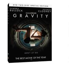 Gravity 2013 PG-13 space thriller movie, new 2-disc DVD S. Bullock, G. Clooney