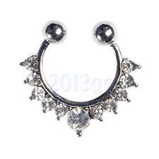 Unisexe Fake Septum Clicker Cristal Percing Nez Nose Ring Argent JW3174 Nice HG