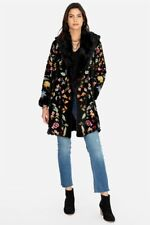 Johnny Was Sona Fur Faux Coat Black Flower Floral Embroidery Winter Jacket NEW