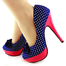 Blue White Polka Dots Bow Pink High Heel Platform Stiletto Party Pumps UK Size 4