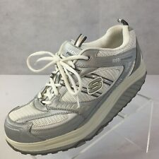 Skechers SHAPE-UPS Sz 9.5 Sneakers Silver Fitness Leather lace up Walking Shoes