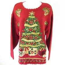 Ugly Christmas Tree Sweater Dress Womens 18 XXL Red Cotton Pullover