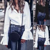 ZANZEA Women Bell Sleeve Buttons Down Shirt Tops Lapel Ladies Blouse Plus Size
