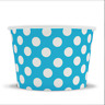 Blue Ice Cream Paper Cups - 8 oz Polka Dot Disposable Birthday Party Cups