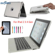 Silver Wireless Bluetooth Keyboard Case Power Bank Cover For iPad 2 / 3 / 4 9.7""