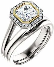 1.42 ct total Asscher & round DIAMOND Halo Engagement Wedding 14k Two-tone Gold