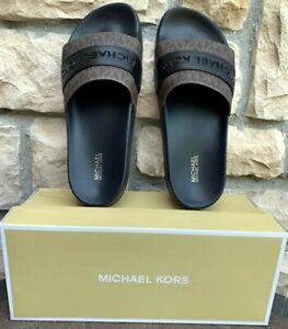 Michael Kors NIB BRANDY SLIDE Eva Sole MK Sm Sig- Brown/Black- Choose Your Size!
