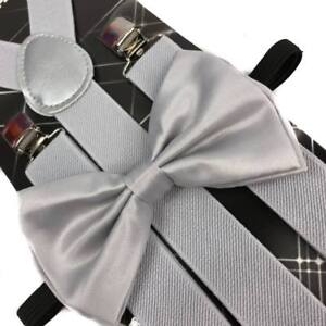 SILVER Suspender and Bow Tie Set for Adults Men Women (USA Seller)