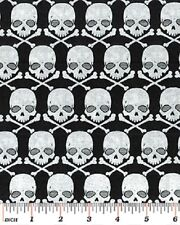 Fat Quarter Gothic Glam Skulls Metal Head 100% Cotton Quilting Fabric Benartex