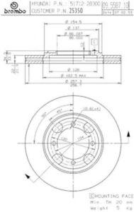 Front Brake Rotor Fits Hyundai Tiburon & Elantra Brembo Brand  25350