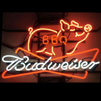 24''x20''Budweiser BBQ Neon Sign Light Restaurant Nightlight Wall Hanging Decor