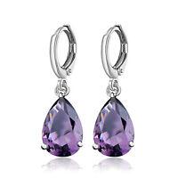 Silver Plated Cubic Zirconia Crystal Huggie Ear Hoop Dangle Earrings for Women