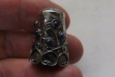 VINTAGE MEXICAN STERLING SILVER THIMBLE WITH LAPIS FLOWERS 2.5CMS (1622)