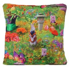 """Wonderland Cushion Cover Printed Fabric Green Pink Rabbits Frogs Butterflies 16"""""""