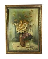 Antique c. 1901 Floral Still Life Oil Painting Vase of Daisies Flowers Signed