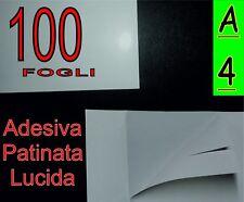 100 fogli di Carta adesiva patinata SUPER LUCIDA fotografica stampante laser A4