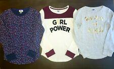 Old Navy Girls Thermal long-sleeve tops Girl Power Heart of Gold lot Xl 3pc