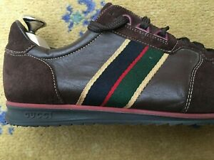 Gucci Mens Shoes Brown Leather Suede Trainers Sneakers UK 8.5 US 9 42.5 Web Red