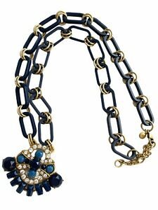 "J.Crew 25"" - 28"" Goldtone & Blue Chain Statement Necklace Rhinestone Pendant"
