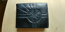 Brent Vintage black leather mens wallet w/zipper paper money n coin compartment