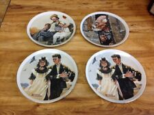 4 Norman Rockwell decorative wall hanging plates by Imm fine porcelain Japan