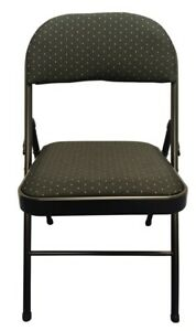 Steel Frame Folding Chair with Black Fabric Seat