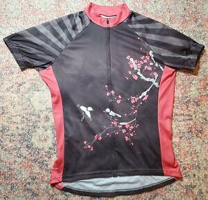 Peak 1 Sports Cherry Blossom Cycling Jersey~Short Sleeve/Full Zip~Women's Sz M