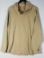 LL Bean Cowl Scoop Neck Top Shirt 2X 18 20 Tan Oatmeal Long Slv. Career Casual T