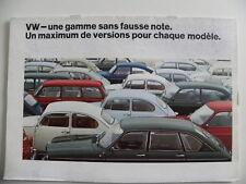 Brochure Volkswagen VW dont Coccinelle et Combi une gamme sans fausse note 01/69